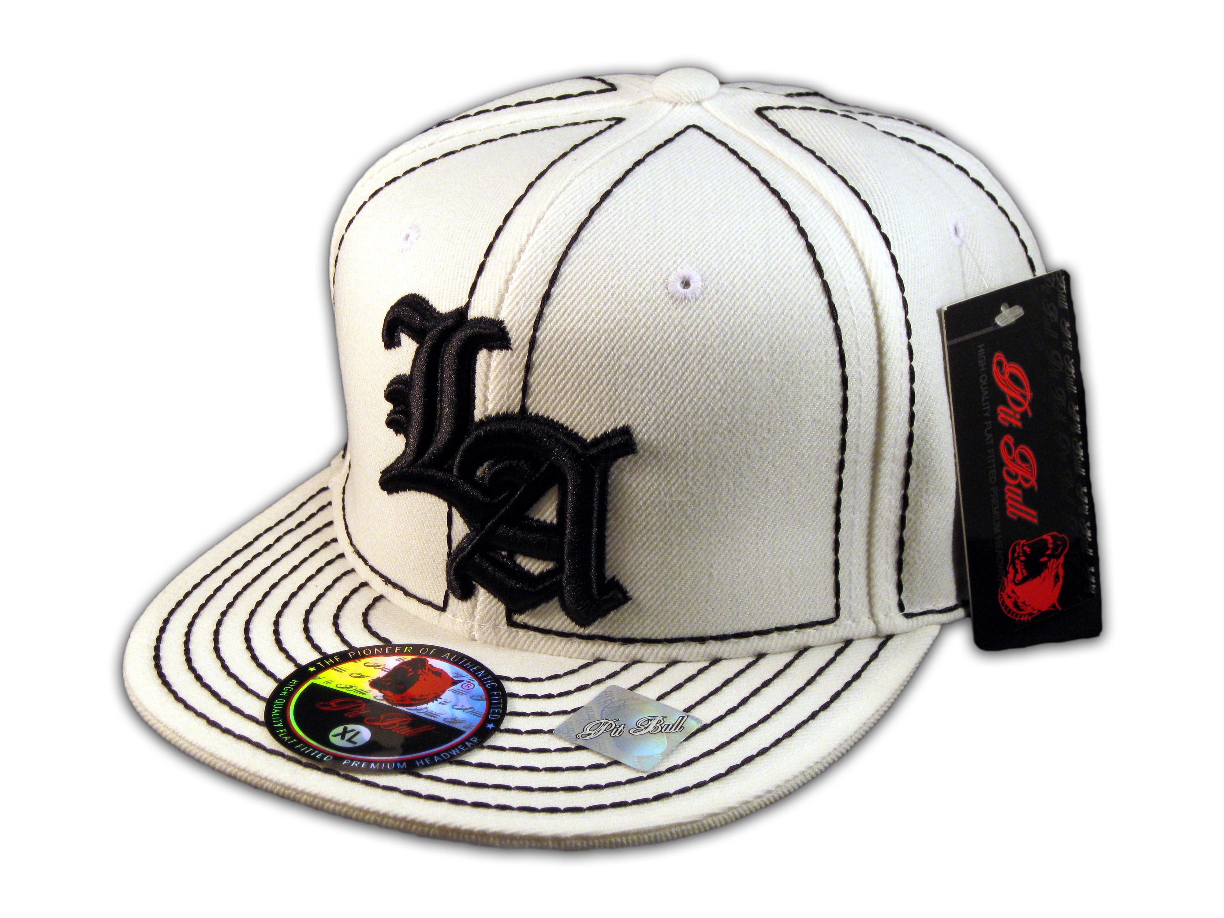 2222f0eec Details about Los Angeles LA on White Black Flat Brim Ball Cap Hip Hop  Style Hat