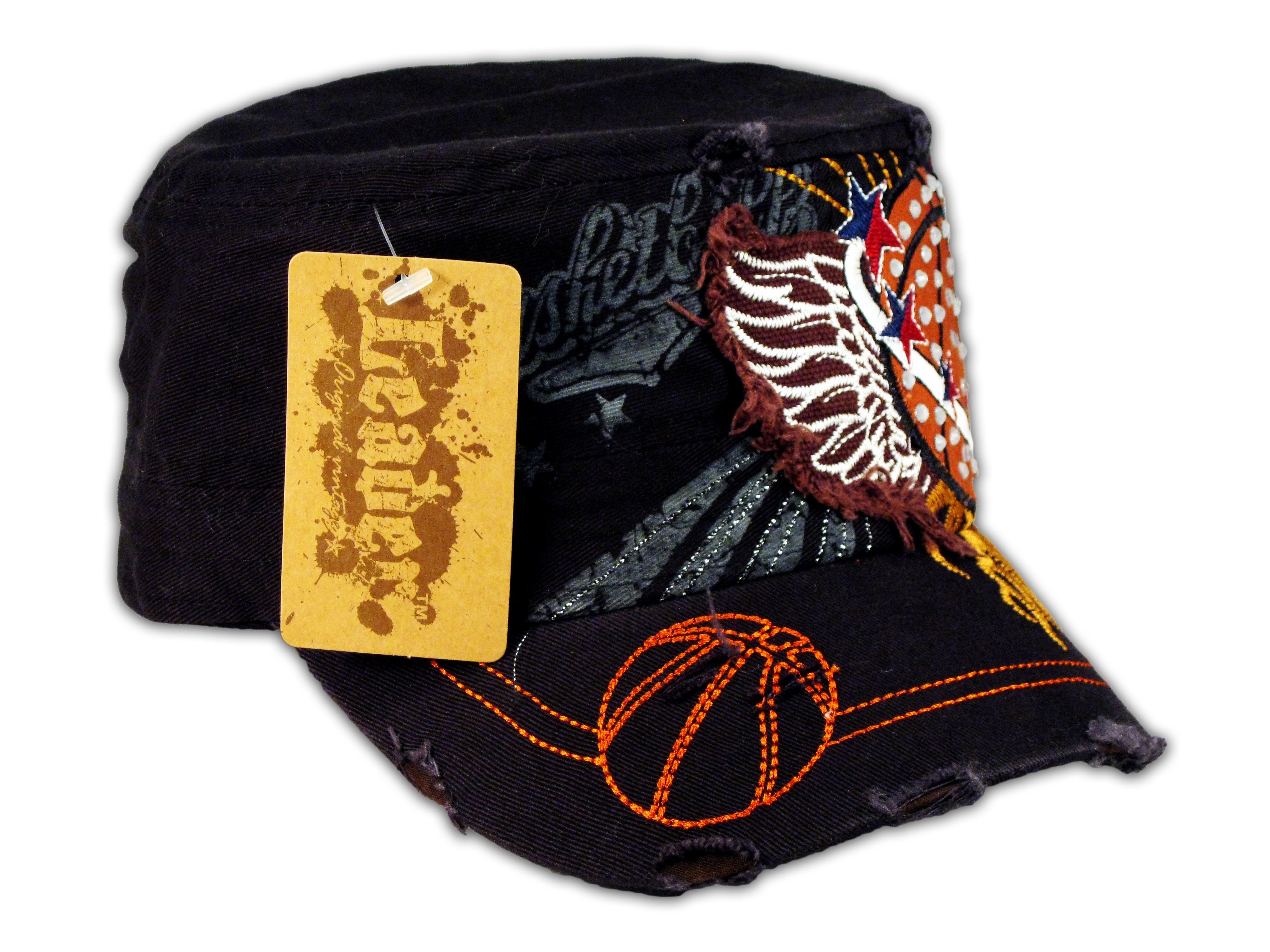 fe3f24ddf4f Black Basketball Cadet Castro Cap Vintage Military Army Hat ...