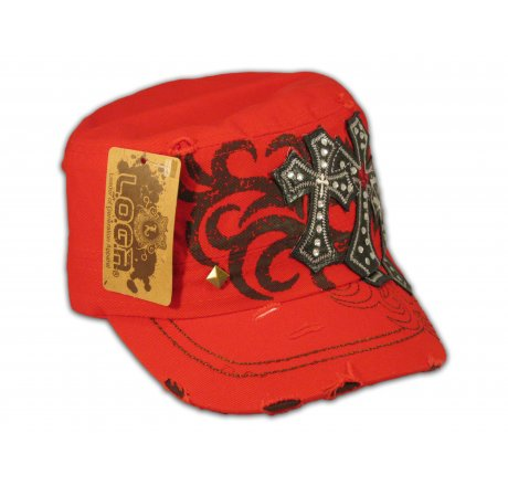 Red Cadet Cap Black Triple Cross Studs Military Army Hat