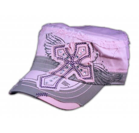 Pink Cross on Cadet Cap Military Army Hat Distressed Visor Jewels