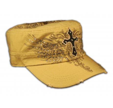 Cross on Khaki Cadet Hat Vintage Army Hat