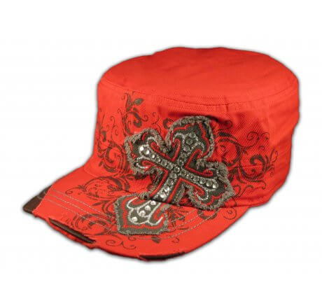 Cross on Red Cadet Hat Vintage Army Cap