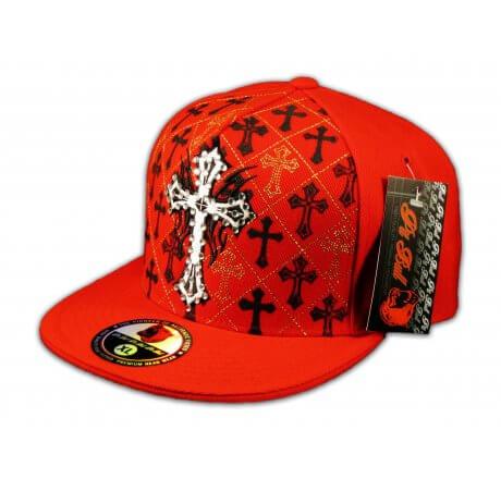 Cross on Red Flat Brim Hip Hop Hat