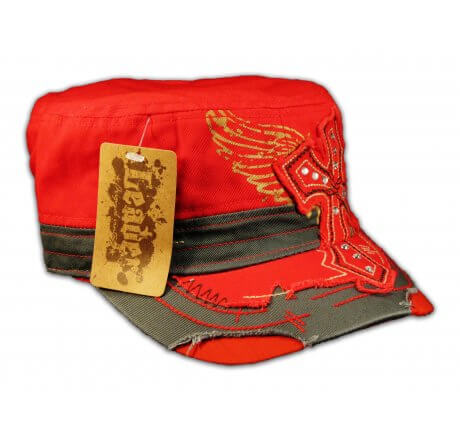 Cross on Red Cadet Cap Army Hat