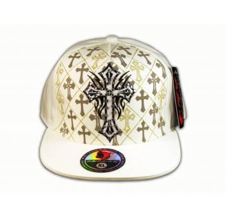 Cross on White Flat Brim Hip Hop Hat