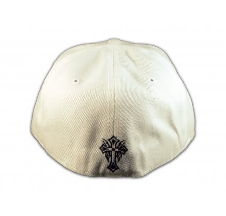 Cross on White Flat Brim Hip Hop Hat