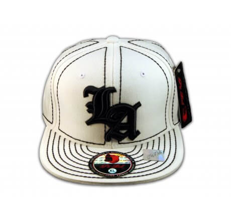 Los Angeles LA on White Black Flat Brim Ball Cap