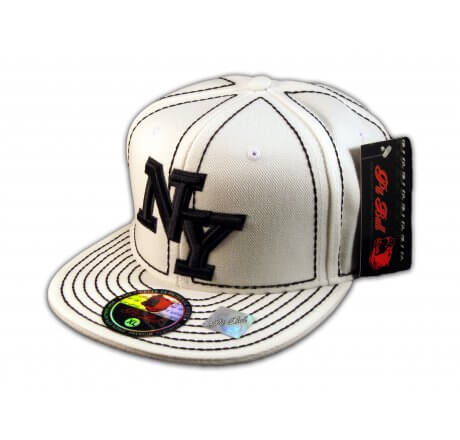 New York NY on White Black Flat Brim Ball Cap