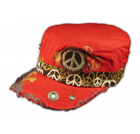 Peace Sign on Red Cadet Cap