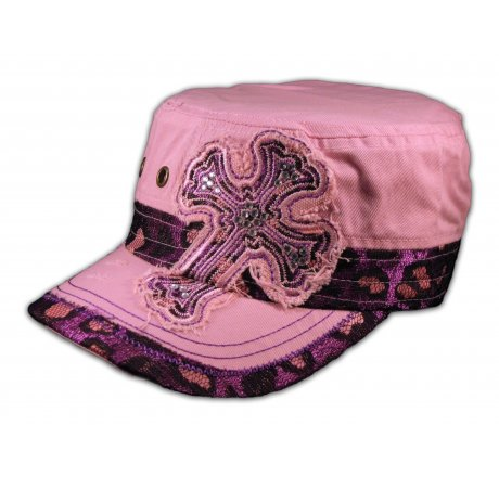 Cross on Pink Cadet Hat Vintage Army Cap