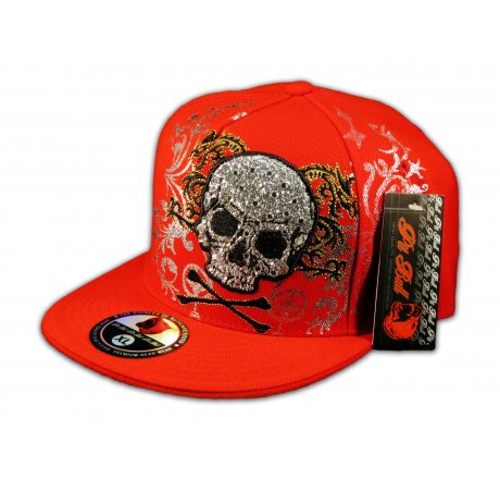 Skull and Crossbones on Red Flat Brim Hat
