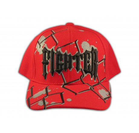 Fighter on Red Snapback Ball Cap