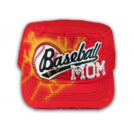 Baseball Mom on Red Cadet Cap Military Style Army Hat