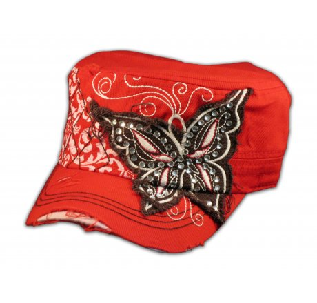 Red Cadet Cap with Brown Butterfly