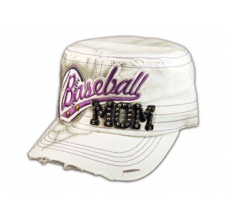 Baseball Mom on White Cadet Cap