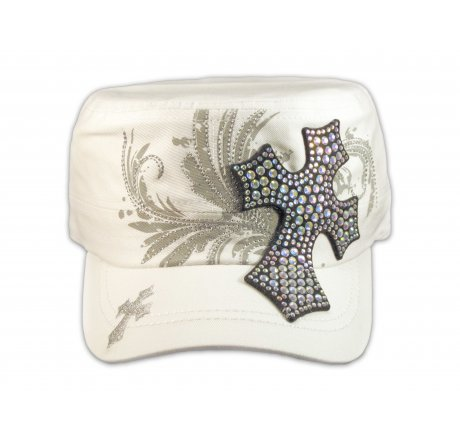 Rhinestone Cross on White Cadet Hat