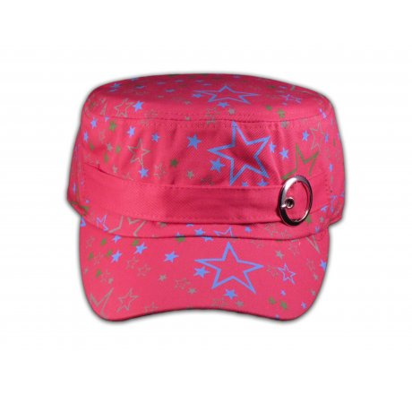 Pink Cadet Cap with Colored Stars