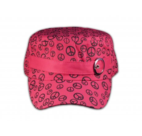 Pink Cadet Cap with Black Peace Signs