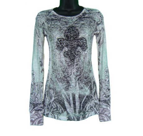 Front - Long Sleeve Burnout All Over Print with Jewels