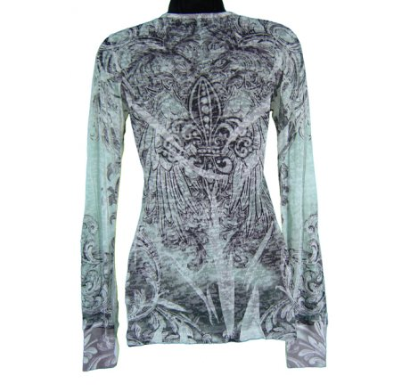 Rear - Long Sleeve Burnout All Over Print with Jewels