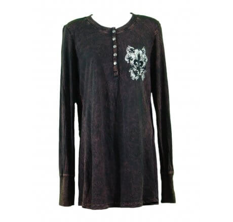 Front - Thermal Print Shirt with Jewels Long Sleeve with Black Velvet Cutout