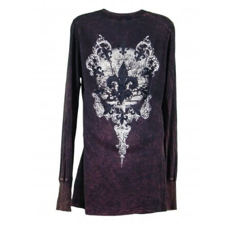 Rear - Thermal Print Shirt with Jewels Long Sleeve with Black Velvet Cutout