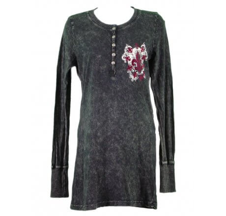 Front - Thermal Print Shirt Jewel Long Sleeve with Red Velvet Cut Out
