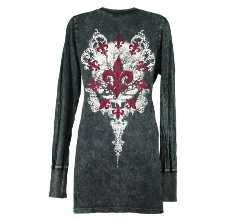 Rear - Thermal Print Shirt Jewel Long Sleeve with Red Velvet Cut Out