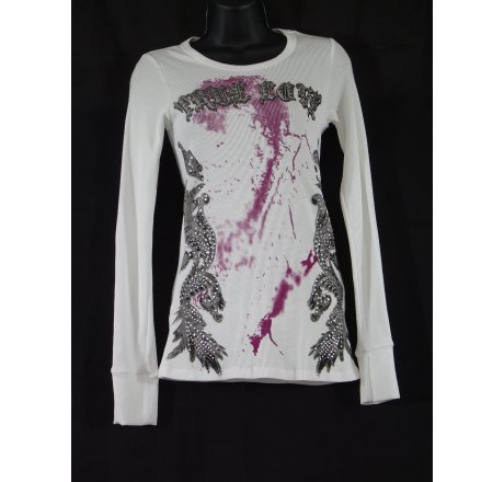 Front - Thermal Print Shirt Jewel Wings Long Sleeve True Love White