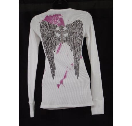 Rear - Thermal Print Shirt Jewel Wings Long Sleeve True Love White