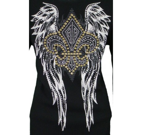 Detail - Thermal Print Shirt Jewel Long Sleeve with Fleur-de-lis Wings