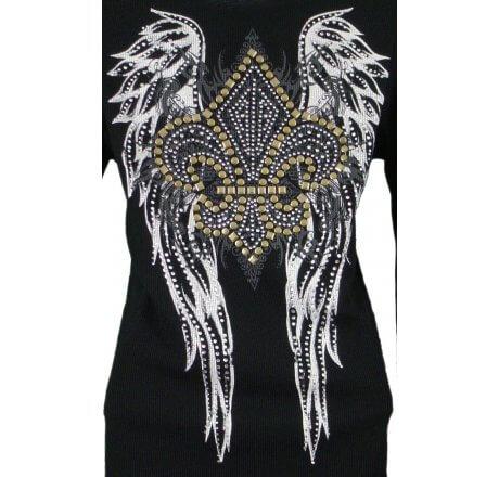 Detail - Thermal Print Shirt Jewel Long Sleeve with Fleur-de-lis Wings
