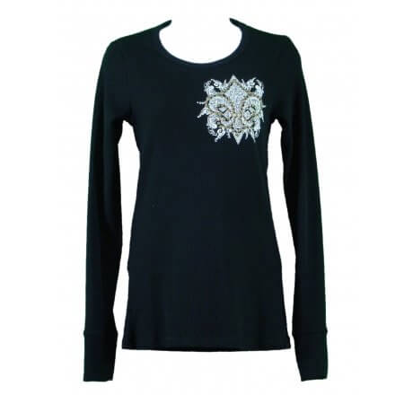 Front - Thermal Print Shirt Jewel Long Sleeve with Fleur-de-lis Wings