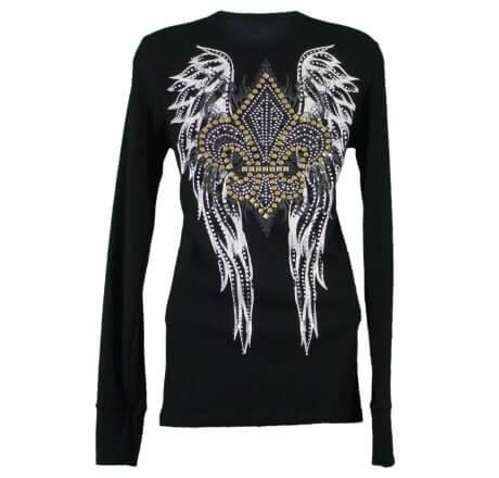 Back - Thermal Print Shirt Jewel Long Sleeve with Fleur-de-lis Wings