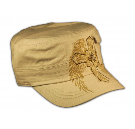 Cross on Wings Stone Color Cadet Cap