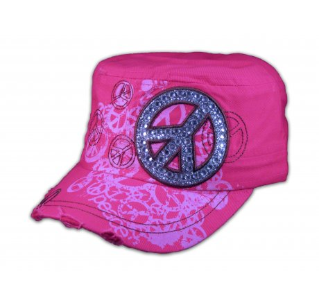 Peace Sign on Pink Cadet Cap