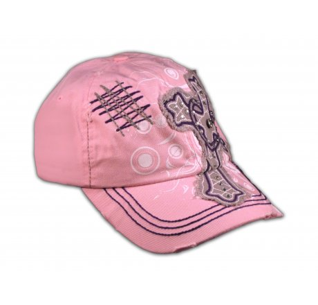 Cross with Heart on Pink Ball Cap