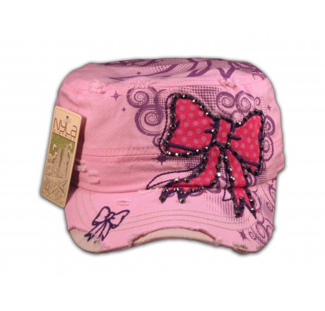 Red Bow on Pink Cadet Cap