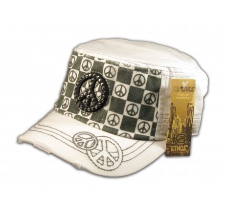 Peace Sign on Checkerboard on White Army Cadet Hat