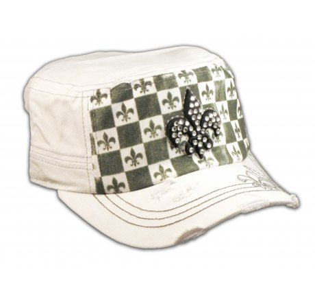 Fleur-de-lis on Checkerboard White Army Cadet Hat