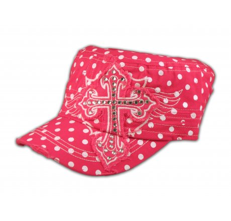 Cross on Pink Polka Dot Cadet Cap