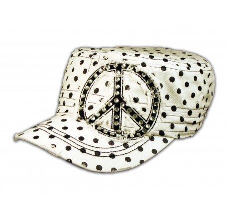 Peace Sign on White Polka Dot Cadet Cap