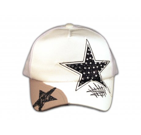 Black Star on White Trucker Cap