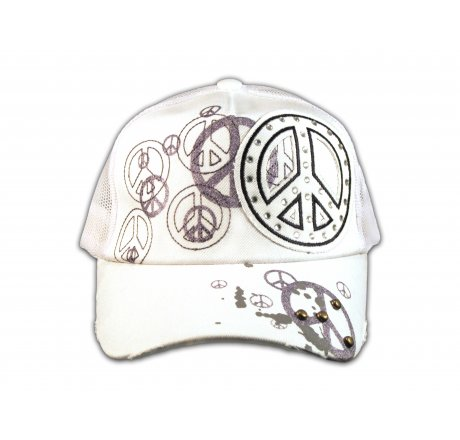 Peace Sign on White Trucker Cap