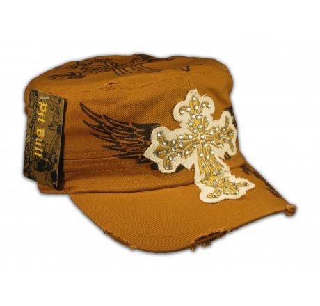 Cross on Cinnamon Brown Army Cadet Hat