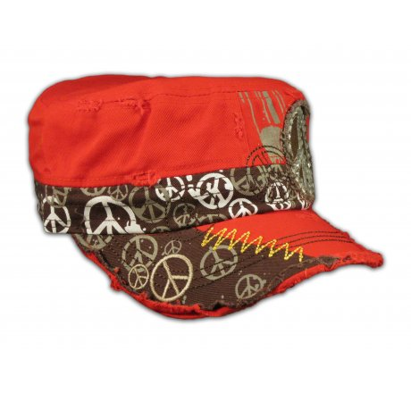 Peace Sign on Red Army Cadet Hat