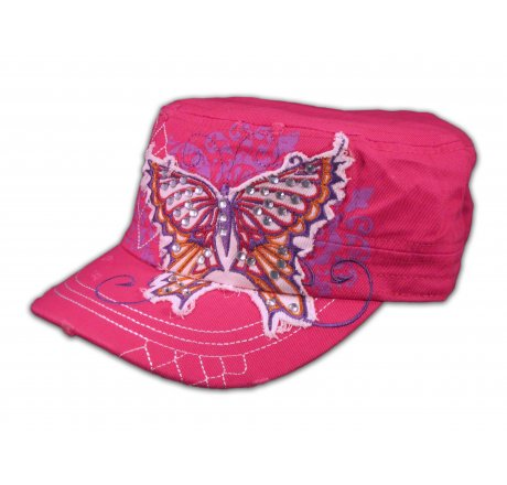 Butterfly on Pink Army Cadet Hat