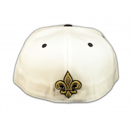 Fleur-de-lis and Wings on White Fitted Flat Brim Ball Cap
