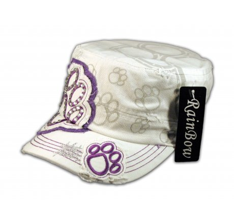 Paw Print on White Purple Cadet Castro Hat