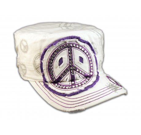 Peace Sign White Purple Cadet Castro Hat